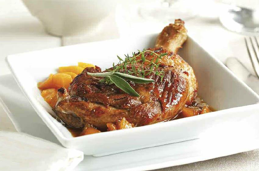 Pato con salsa de melocotón