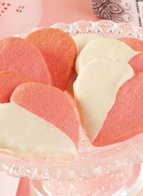 Galletas de corazones rosas
