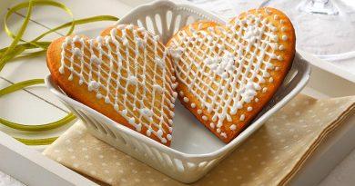 Galletas de miel en forma de corazón