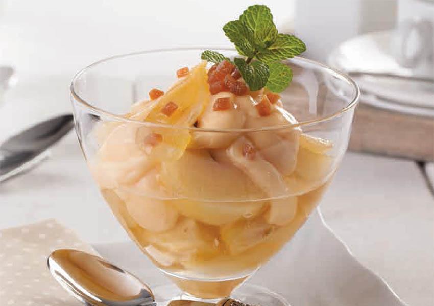 Peras caramelizadas con mascarpone y aguardiente