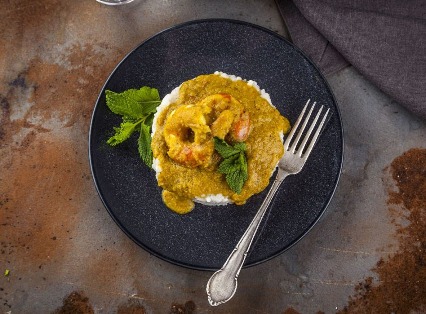 Curry de arroz con gambas