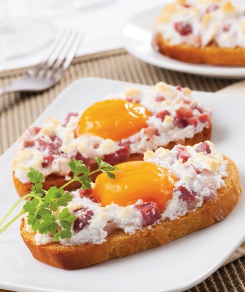 Huevos espumosos con jamón ibérico